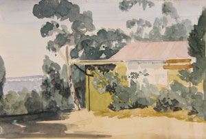 The (Old) Hut, watercolour by Lloyd Jones